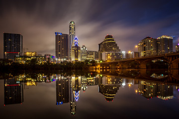 Austin , Texas , USA reflection of Town Lake Downtown Skyline Cityscape urban modern symmetry of the skyscrapers reflecting off water of Colorado River  Fototapete