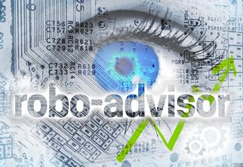 Robo-Advisor Konzept Hintergrund mit Auge