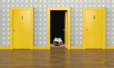 3D rendering of one open door with a reward inside representing the concept of choice