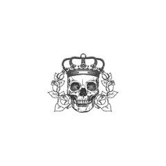 black and white skull rose vector