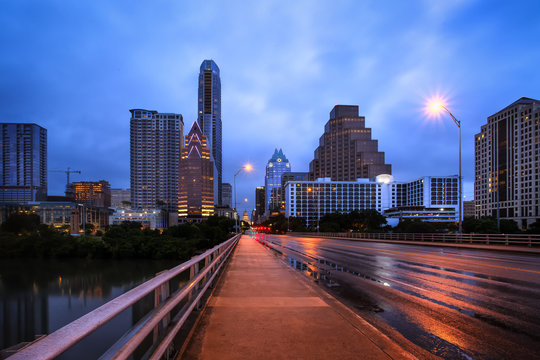 A view of the downtown Austin, TX skyline from the Congress Avenue Bridge.