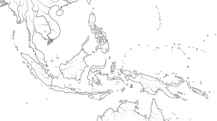 World Map of SOUTHEAST ASIA REGION: Indochina, Thailand, Malaysia, Indonesia, Philippines, Sumatra, Kalimantan, Malay Archipelago and Islands. Geographic chart with archipelago, coral seas & islands.