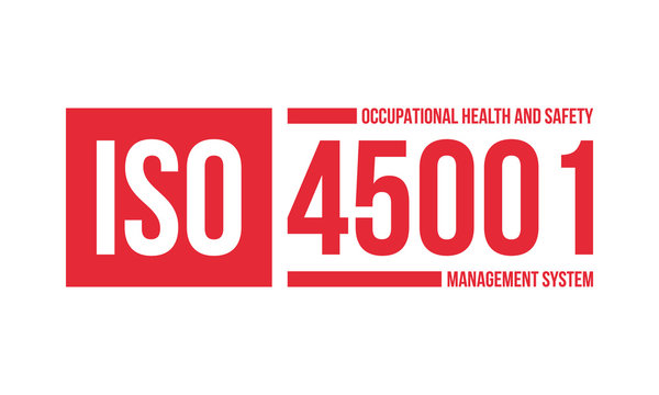 iso 45001 occupational health and safety management system certificate stamp or logo, flat vector illustration