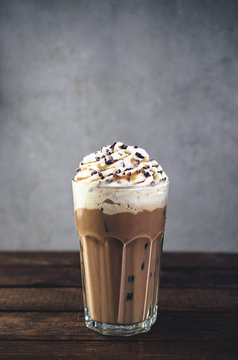 Cold frappe coffee with whipped cream