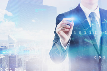 Businessman working with network interface