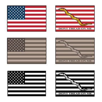 USA and Dont Tread On Me flag isolated vector illustration set in full color, desert camouflage tones, and black
