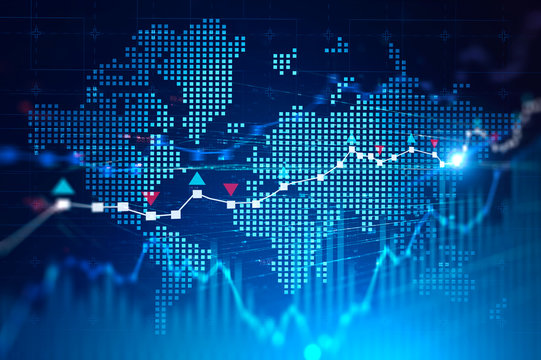 World map and global digital network for trading