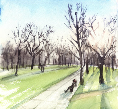 hand drawn watercolor illustration landscape with sun and trees. sunset in the park, people sit on the bench
