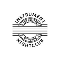 Music nightclub guitar seal line art logo design