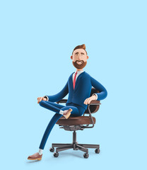 Portrait of a handsome cartoon character on office chair. 3d illustration on blue background