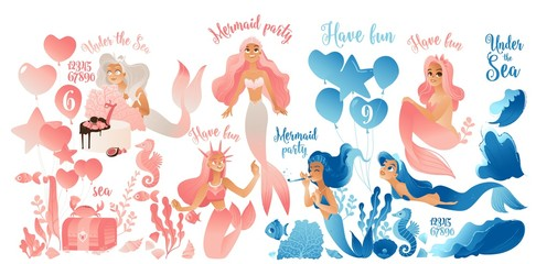 Mermaid party - cute cartoon character set in pink and blue