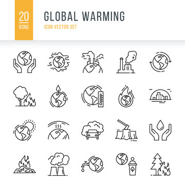 Icon set of 20 pieces of vector icons isolated on a white background in a linear style on the theme of global pollution, ecology, problems of the planet.