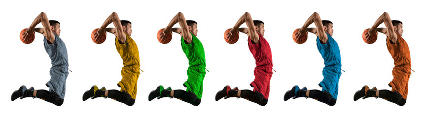 Man basketball player. Multicolored image