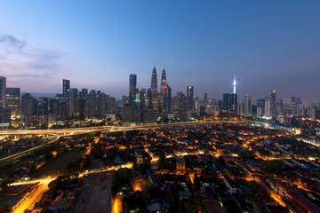 Kuala lumpur cityscape. Panoramic view of Kuala Lumpur city skyline during sunrise viewing skyscrapers building in Malaysia.
