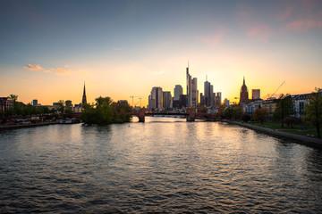 Frankfurt am main urban skyline with skyscrapers building during sunset in Frankfurt, Germany.
