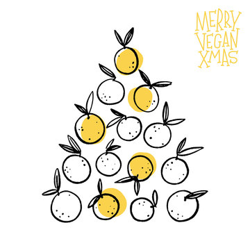 Merry Vegan Xmas. Citrus fruits isolated on a white background. Hand drawn vector illustration for creative design of posters, cards, invitation, prints, websites and wallpapers.