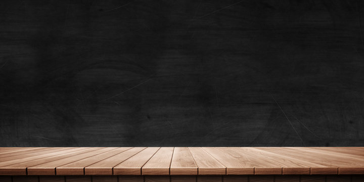 Colorful wooden platform background: blackboard/chalkboard. ( 3D rendering computer digitally generated illustration.)