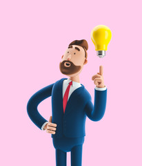 Businessman Billy with yellow bulb. Innovation and inspiration concept. 3d illustration on pink background