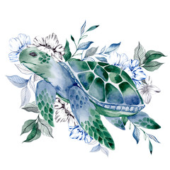 Watercolor illustration with pretty turtles, flowers and leaves, isolated on white background