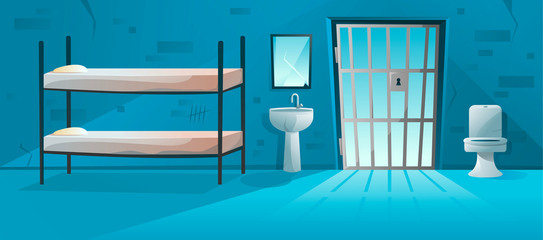 Prison cell interior with lattice, grid door , bunk bed, toilet bowl, washbasin and scratched, cracked brick walls illustration. Jail room in cartoon style