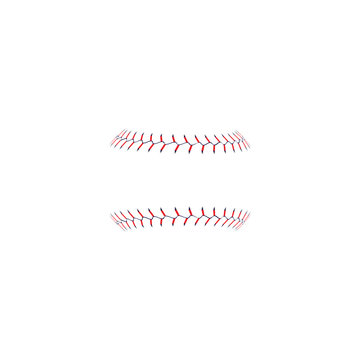 Baseball's softball red stitches or lace vector illustration isolated on white.
