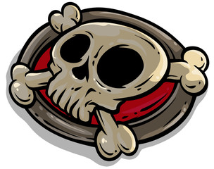 Cartoon pirate skull with crossed bones. Isolated on white background. Vector icon.