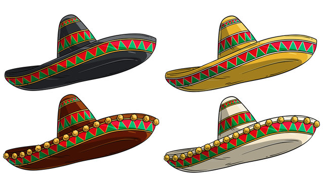 Cartoon colorful traditional ornate mexican hat sombrero. Isolated on white background. Vector icon set. Vol. 2