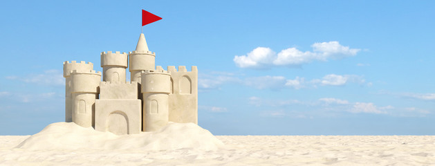 Sandcastle on the beach with sand in summer Wall mural