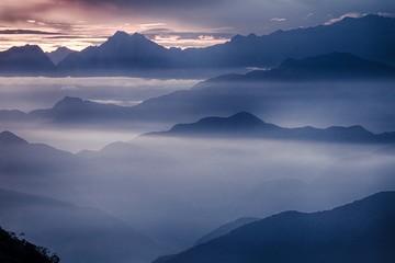 View of the foggy valley in Sierra Nevada de Santa Marta, Cordillera, Colombia  dramatic scene, beautiful world,scenic view with cloudy sky, majestic impressive dawn in mountain landscape, wallpaper