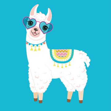 Cute white llama in heart shaped sunglasses