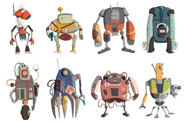 Cartoon robots characters set. Technology, future. Artificial intelligence design concept. Isolated on white background. Vector illustration