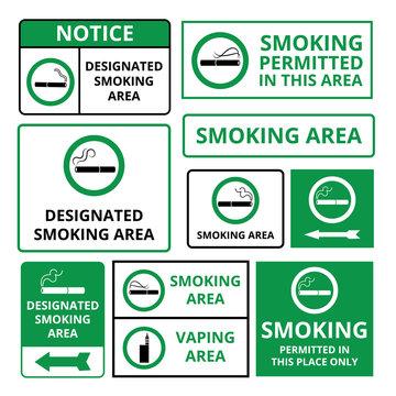Designated smoking area - green signboard sticker set with public notice information