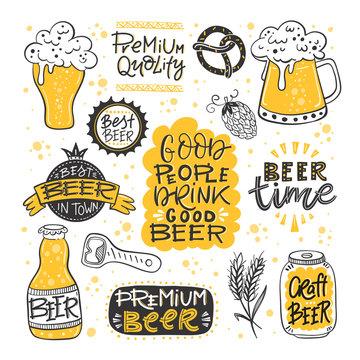 Beer fest hand drawn illustration big vector collection