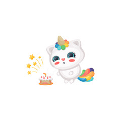 Printed kitchen splashbacks Cats Cartoon cat unicorn blowing candles on birthday cake, cute happy white kitten with rainbow horn and tail