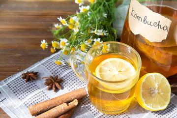 Healthy tea kombucha with lemon and cinnamon. Recipe for homemade Kombucha