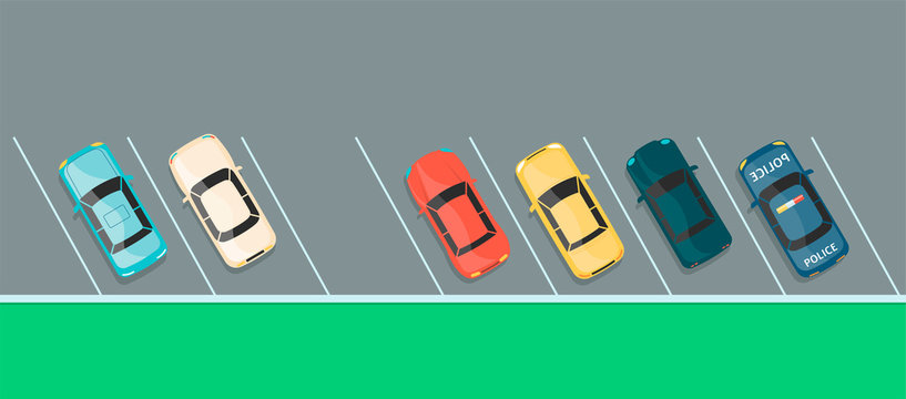 Top view of colorful car row on a parking lot
