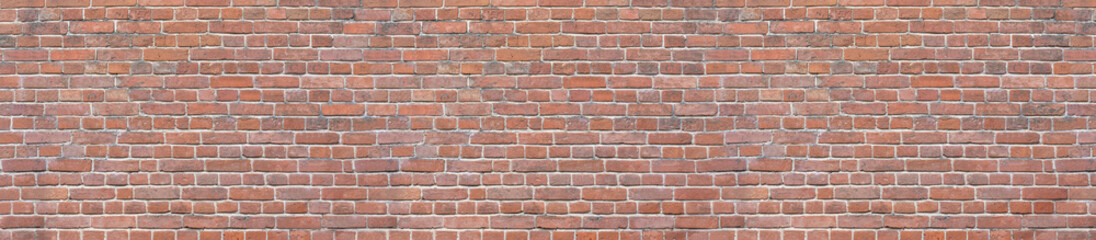 Poster Brick wall Old red brick wall background. Panoramic wide texture