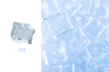 Creative layout made of ice cube over white background