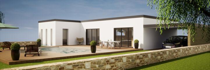 Fototapeta vue 3d maison avec toit plat et piscine (4) obraz