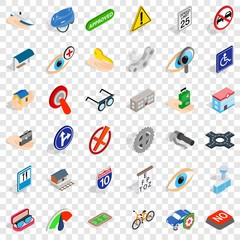 Cross over icons set. Isometric style of 36 cross over vector icons for web for any design