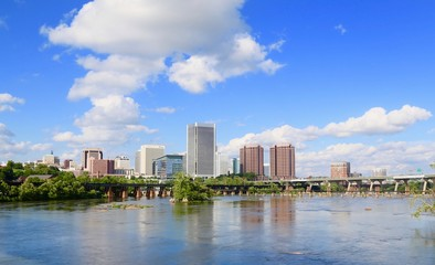 Richmond Virginia city skyline along the James River