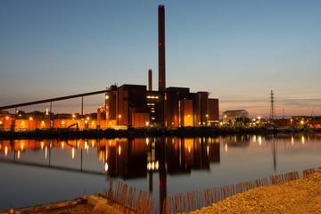 Helsinki by night; soon to be demolished power plant in Hanasaari, Helsinki