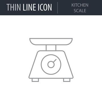 Symbol of Kitchen Scale. Thin line Icon of Kitchen Utensils. Stroke Pictogram Graphic for Web Design. Quality Outline Vector Symbol Concept. Premium Mono Linear Beautiful Plain Laconic Logo