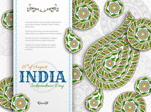 15th of August India Independence Day. Greeting card with arabesque floral pattern. Paisley and Mandala