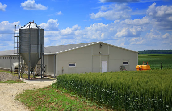 Modern farm buildings with silo and cereal