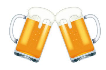 リアルテイストのビールのイラスト(ベクター)乾杯(文字有・白背景 あふれる泡のビアジョッキ 居酒屋・飲み屋