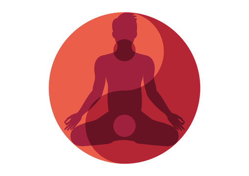 Yin Yang Man vector. Yin Yang Symbol with Man. Yin yang symbol vector illustration. Silhouette of man in yoga position. Red Yin Yang symbol. Yoga man icon isolated on a white background