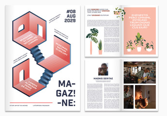 Magazine with Plant and Home Interior Illustrations
