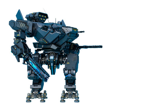 black heavy mech with a mainbody twisted in a white background