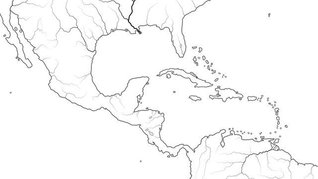 World Map of CENTRAL AMERICA and CARIBBEAN BASIN REGION: Mexico, Cuba, Guatemala, Yucatan, Caribbean Islands, Antilles, Bahamas, Panama Canal. Geographic chart with coastline, sea, gulf, islands.